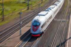 High-speed passenger train. In motion royalty free stock image
