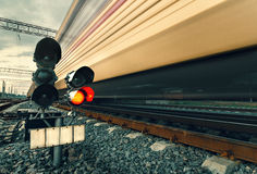 Free High Speed Passenger Train On Tracks With Motion Blur Effect Stock Photography - 53057032
