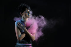 High Speed Photography Holi Powder on a Beautiful Woman Royalty Free Stock Photo