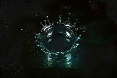 Water crown. High speed photography of water crown stock image