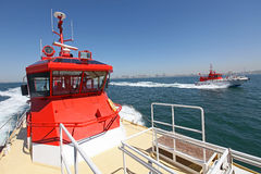 A high-speed pilot boats Stock Photos