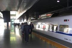 A maglev high-speed rail (HSR) bullet train at Hongqiao railway station, Shanghai, China. Modern high-speed rail train is waiting at the railway station Hongqiao Stock Images