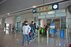 The high-speed rail tickets checked. Wuxi,jiangsu,china royalty free stock photo