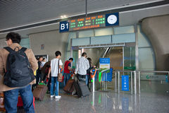 The high-speed rail tickets checked. Wuxi,jiangsu,china Royalty Free Stock Photography