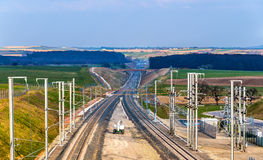 High-speed railway LGV Est phase II under construction near Save Royalty Free Stock Photo