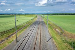 French countryside - Lorraine. High-speed railway line in the Lorraine countryside Royalty Free Stock Images