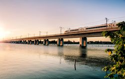 High-speed railway passes through rivers and lakes Stock Image