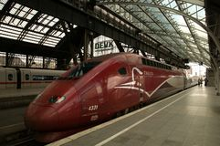 High-speed railway  Thalys in Cologne. Thalys is an international high-speed train operator originally built around the high-speed line between Paris and Stock Photography