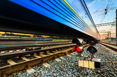 High-speed railway train with motion blur Royalty Free Stock Photos