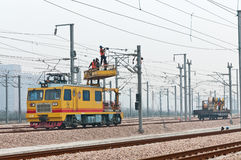 High speed railway workers Stock Photo