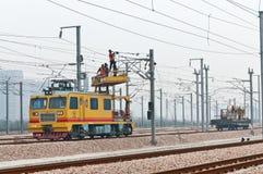 High speed railway workers Stock Photo