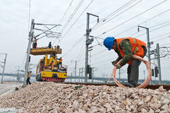 High speed railway workers Stock Photos