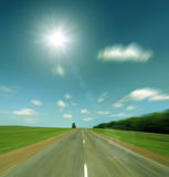 High speed road to sun - vintage retro style Stock Photography