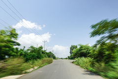 High speed running of forest road Royalty Free Stock Image
