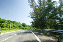 High speed running of forest road Stock Photo