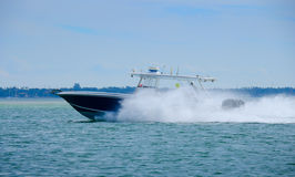 High speed scuba diving fishing boat with three motors Royalty Free Stock Photos