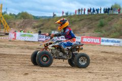 High speed. SERPUKHOV, RUSSIA - OCTOBER 7, 2017: Zolin Nikita 11,  Class ATV-JUNIORS, in the 4 stage  MX series, the Red Wings Cup 2017 super country-cross, Moto Stock Photo