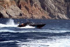 Fast boat of the Spanish Customs Service. Royalty Free Stock Photos
