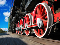 High speed steam locomotive. With monion blur effect royalty free stock images