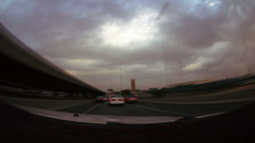 High speed tour in jeddah city with cloudy day stock video footage