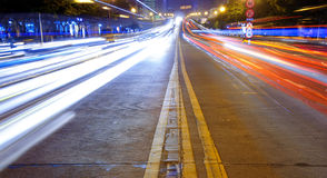 High speed traffic and blurred light trails Stock Photos