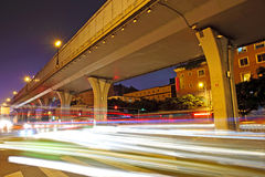 High speed traffic and blurred light trails Royalty Free Stock Image