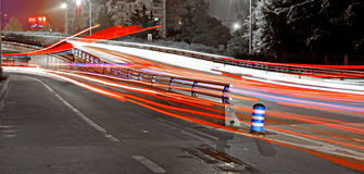 High speed traffic and blurred light trails Royalty Free Stock Photos