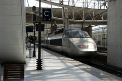 High speed train. Arriving at a Parisian train station Royalty Free Stock Image