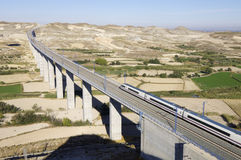 High-speed train. View of a high-speed train crossing a viaduct in Spain Royalty Free Stock Photography