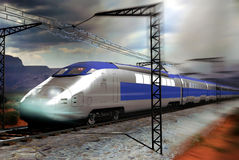 High speed train. A high-speed modern train on the railroad. The electricity that gives its energy is visible on the high-voltage cables Royalty Free Stock Photo