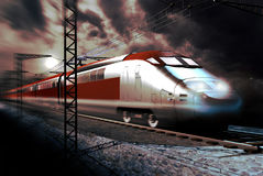 High speed train. A high-speed modern train on the railroad, under the moonlight royalty free stock photo