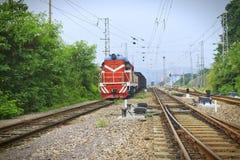 High speed through train Stock Photo