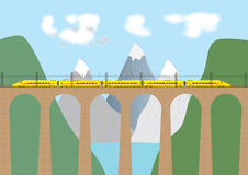High Speed Train. A High Speed Electric Train crossing a viaduct in a mountain area royalty free illustration