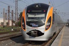 High-speed train. SLAVYANSK, UKRAINE - JUNE 26, 2012: High-speed train Donetsk-Kyiv arrives at the station Slavyansk June 26, 2012. High-speed trains in Ukraine Stock Photo