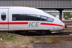 High speed train. DORTMUND, GERMANY - JULY 16: ICE train of Deutsche Bahn on July 16, 2012 in Dortmund, Germany. In 2009 ICE Express trains transported more than Royalty Free Stock Images