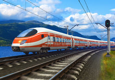 High speed train. Driving across mountain scenery with motion blur effect Stock Photography