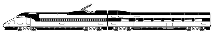 High-speed train. Vector black and white illustration of a train Stock Photos
