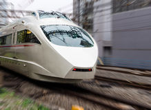 High Speed Train. Super high speed train with motion blur moves Royalty Free Stock Photography