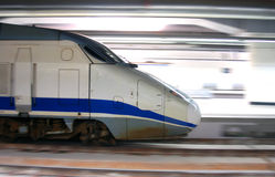 High speed train. Moving into the train station stock images