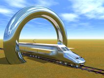 High Speed Train. Passing under chrome arches Stock Photo