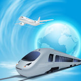 High-speed train and airplane in the sky Royalty Free Stock Image