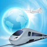 High-speed train and airplane in the sky Stock Photo