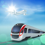High-speed train and airplane in the sky. Royalty Free Stock Photo
