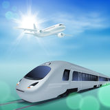 High-speed train and airplane in the sky. Sunny day. stock illustration