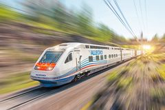 Free High Speed Train Allegro Riding At High Speed. Russia, Saint-Petersburg 20 May 2018. Royalty Free Stock Images - 129917109
