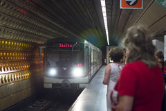 High-speed train arrives at the subway station Royalty Free Stock Photography
