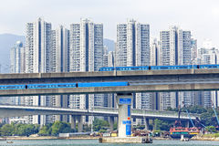 High speed train on bridge in hong kong downtown city Stock Image