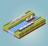 High-speed train. With cargo ship with an isometric landscape Royalty Free Stock Photo