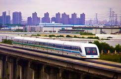 High Speed train in China. Can travel up to 450 KPH, this one runs from downtown to the Shanghai Airport royalty free stock photo