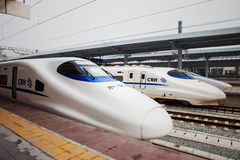 High speed train in China. Several China High speed train (CRH Harmony)stopped at a platform stock photography